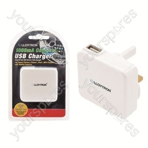 1000mA ''Compact'' USB Charger - White