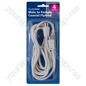 4m Coaxial Flylead - Plug to Socket (M to F) - White