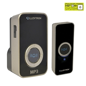 Digital MP3 Plug-In Wireless Door Chime with MiPs- Black