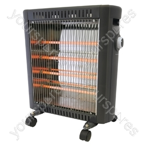 1600w 4 Bar Halogen Radiator - Black