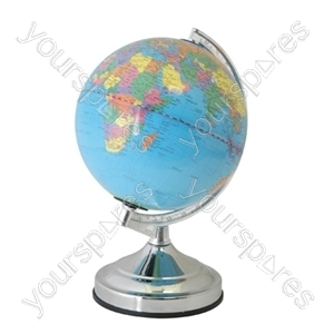 13'' World Globe Touch Desk Lamp - Chrome / Blue