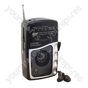 Entertainer'' 2 Band DC Personal Radio With Earphones - Black