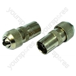 Female Coax Plugs Brass Plated Pack Of 2