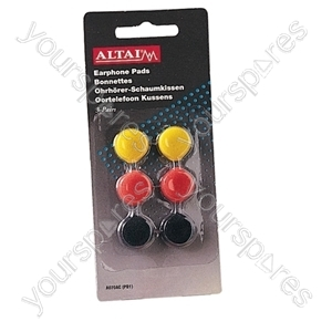 Coloured Replacement Earphone Pads x 3 Pairs - Pad Size 18mm