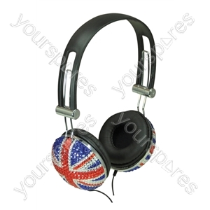 Bling Union Jack design Headphone