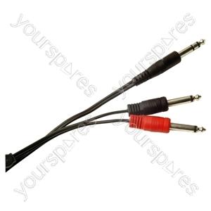 Standard 6.35 mm Stereo Jack Plug to 2x 6.35 mm Mono Jack Plugs Screened Lead
