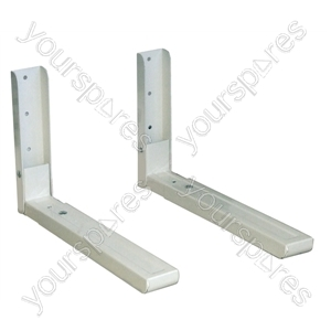 White Microwave Brackets with Extending Arms