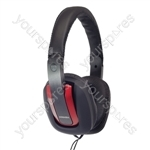 Digital Stereo Fashion Headphones With Luxury Padded Headband - Colour Black/Red/White