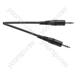 Standard 3.5 mm Stereo Jack Plug to 3.5 mm Stereo Jack Plug Lead - Lead Length (m) 0.23