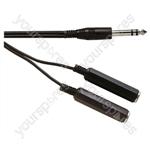 Standard 6.35 mm Stereo Jack Plug to 2x 6.35 mm Stereo Jack Sockets Screened Lead