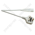 3 Pin IEC Hot UK Mains Lead 10A - Colour White