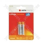 AGFA PHOTO Lithium Extreme Battery. Blister Card of 2 - Type AAA