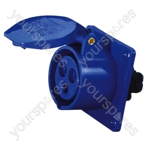 230 V Blue 16 A 3 Contact High Current Straight Outlet Panel Mount