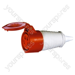 400 V Red 16 A 5 Contact High Current In-line Socket