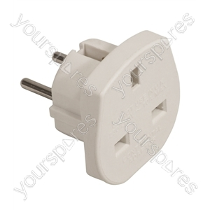Travel Adaptor (UK to European Schuko) 10A - Colour White