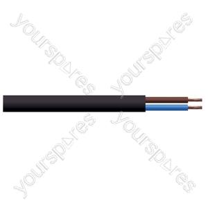 Round 2 Core 0.75mm PVC Flex 6A 3182Y. 100m Reel - Colour Black