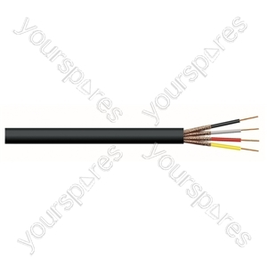 4 Core Round Individually Screened Cable - Colour Black