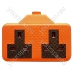 2 Gang Impact Resistant Extension Socket - Colour Orange