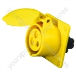 110 V Yellow 16 A 3 Contact High Current Straight Outlet Panel Mount