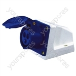 230 V Blue 16 A 3 Contact High Current Angled Outlet Wall Mount
