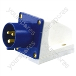 230 V Blue 32 A 3 Contact High Current Angled Inlet Wall Mount