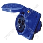 230 V Blue 32 A 3 Contact High Current Angled Outlet Panel Mount
