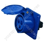 230 V Blue 32 A 3 Contact High Current Straight Outlet Panel Mount