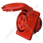 400 V Red 32 A 5 Contact High Current Angled Outlet Panel Mount