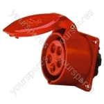 400 V Red 32 A 5 Contact High Current Straight Outlet Panel Mount