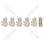 Eagle 5 Way Remote Control Mains Socket Set - Colour White