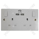 2 Gang Switched 13A Socket with 2 x 5V 2.1A USB Sockets