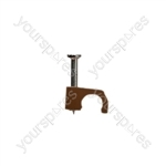 7 mm Round Brown Cable Clips  - Pack Size 20
