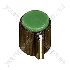 6.35mm Plastic Pointer Knob with Coloured Cap - Cap Colour Green