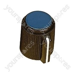 6.35mm Plastic Pointer Knob with Coloured Cap - Cap Colour Blue