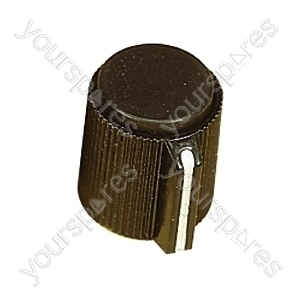 6.35mm Plastic Pointer Knob with Coloured Cap - Cap Colour Black