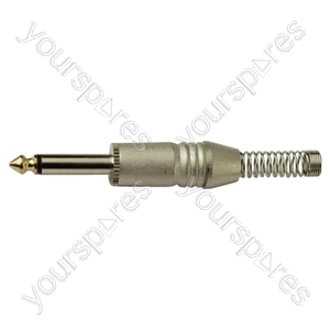 6.35 mm Mono Metal Jack Plug with Cable Protector and Solder Terminals
