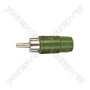 Green Phono Plug With Hard Plastic Cover and Solder Terminals