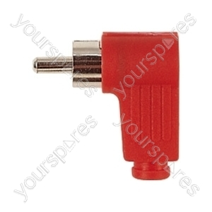 Standard Right Angled Phono Plug with Soft Plastic Cover and Solder Terminals - Colour Red