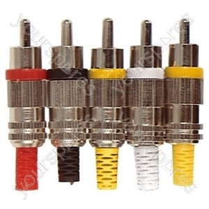 Phono Plug with Metal Cover , Colour Coded Band and Solder Terminals - Colour Red
