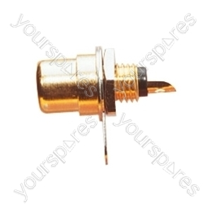 Gold Plated Phono Chassis Socket With  Colour Coded Insulator, Single Fixing Hole and Solder Terminals - Colour Black