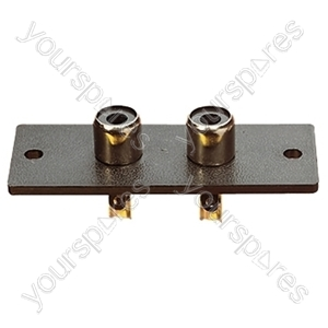 Twin Phono Sockets on a Plastic Board with Fixing Holes and Solder Terminals