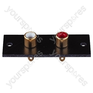 Red/White 2 Way  Phono Sockets Paxolin Panel with Gold Plate and Solder Terminals