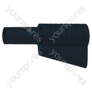 4 mm High Quality Stackable Banana Plug with Soft Plastic Shrouded Cover and Solder Terminals - Colour Black