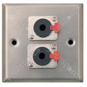 Metal AV Wall Plate with 2 x 6.35 mm Jack Socket