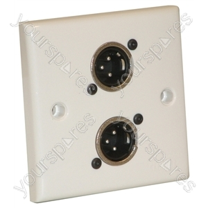 AV Wall Plate with 2 x 3 Pin Male XLR Socket (NC3MDL1)