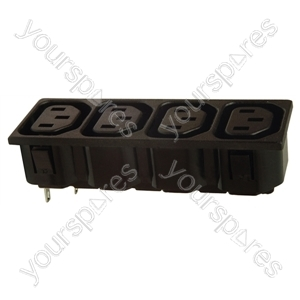 4 Outlet IEC Chassis Socket 6A