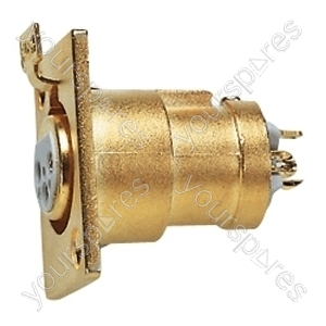 3 Pin XLR Female Chassis Socket with Gold Plated Contacts and Solder Terminals
