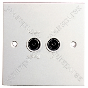Flush Twin Coax Outlet for TV and FM Radio