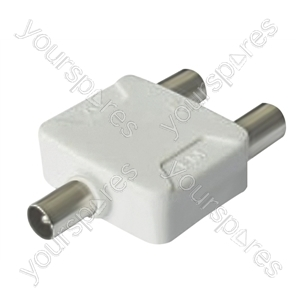 Coaxial Through Splitter Line Plug to 2 x  Line Sockets