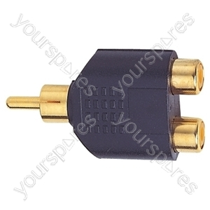 Gold Plated Phono Plug to 2x RCA Phono Sockets Set Parallel Adaptor